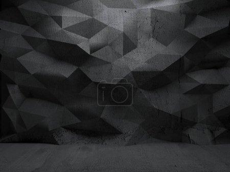 Photo pour Salle d'exposition abstraite en béton avec mur poligon. Modélisation moderne du studio d'exposition pour la présentation des produits. Intérieur futuriste en béton vide. Rendu 3D - image libre de droit