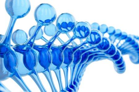 ein helles partikelförmiges 3D gerendertes blaues DNA-Konzept isoliert auf weißem Hintergrund. abstrakte blaue Moleküle entwerfen. Atome. Wissenschaft oder medizinischer Hintergrund. Chemie-Banner oder Flyer.