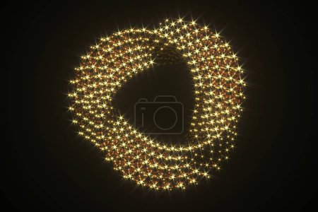 Photo for Abstract luxury golden jewelry isolated on black. 3D render of curved ring made from golden swirl spheres. Sparkle shine golden element for jewelry logo or icon design - Royalty Free Image