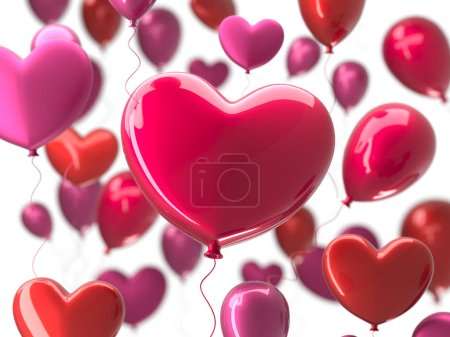 Photo for Valentines day abstract background with red 3d balloons. Heart shape. February 14, love. Romantic wedding greeting card. Womens, Mothers day - Royalty Free Image