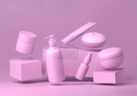 Photo for Cosmetic mock up set. Cosmetic packaging bottles jar and tube. Make up blank face cream tube, spray. Set of trendy realistic beauty products on light pink background. Skin or hair care. 3d rendering. - Royalty Free Image