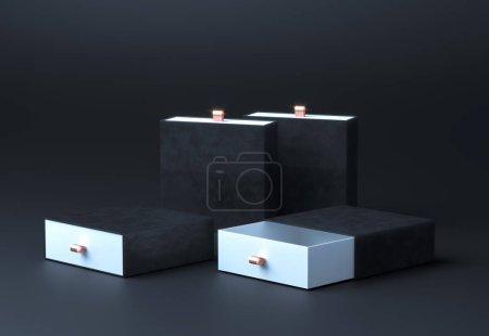 Photo pour Une maquette de boîte noire. Elégant modèle de boîte de marque en velours noir avec deux boîtes de texture en soie vierges. Boîte d'emballage de luxe pour produits haut de gamme. Boîte carrée ouverte vide. Rendu 3d . - image libre de droit