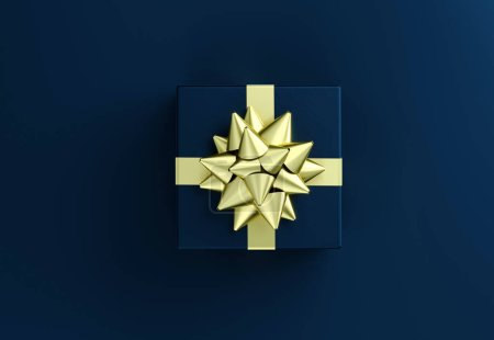 Photo for Blue gift box with big golden bow. Christmas box template black background. Luxury packaging collection. Present box top view. 3D Rendering - Royalty Free Image