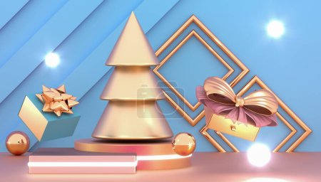 Photo for Happy New Year or Christmas background with decorative gift boxes. Golden christmas tree and gift boxes. New year presents on the podium. 3d rendering - Royalty Free Image