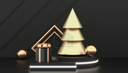Photo for Happy New Year or Christmas background with decorative gift boxes. Golden christmas tree and gift boxes. New year presents. 3d rendering - Royalty Free Image