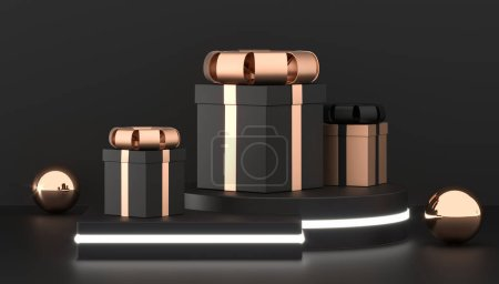 Photo for Luxury gift boxes on podium. Christmas present box background. black and gold gift packaging collection. 3D Rendering - Royalty Free Image