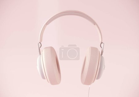 Photo for Modern headphone 3d rendering on pastel background - Royalty Free Image