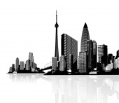 Black and white panorama of cityscapes with bridge between them