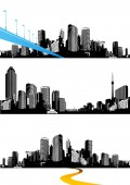 Set of black and white panorama cities Vector art