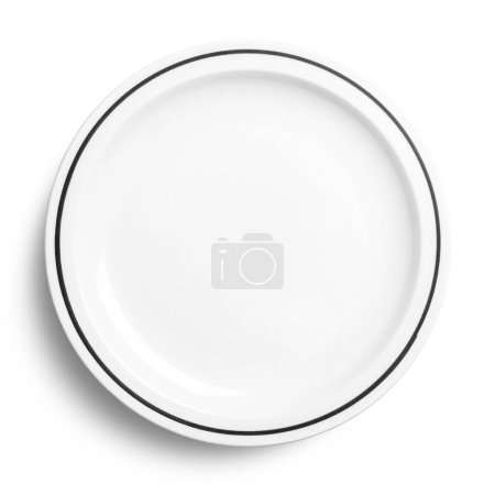 Photo for Empty ceramic plate isolated on white background, top view - Royalty Free Image