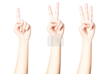 Photo pour Les mains montrent le numéro un deux trois isolé sur fond blanc avec chemin de coupure . - image libre de droit