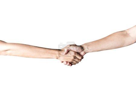 Photo pour Main ouverte et prêt à aider ou recevoir. Geste isolé sur fond blanc avec un tracé de détourage. Aider la main tendue pour le salut. - image libre de droit