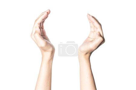 Photo pour Symbole conceptuel de joindre deux mains coupées faisant un cercle isolé sur fond blanc avec chemin de coupe . - image libre de droit