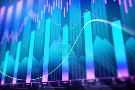 Photo pour Créative arrière-plan du graphique forex rougeoyante. Concept d'investissement, de finance et de commerce. rendu 3D - image libre de droit