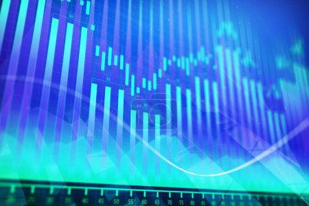 Abstract glowing colorful forex chart background. Investment and trade concept. 3D Rendering