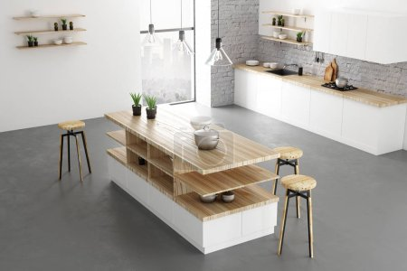 Contemporary bright loft kitchen interior with furniture, appliances and daylight. Design and style concept. 3D Rendering