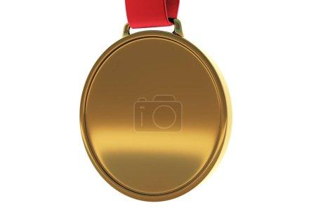 Empty golden medal on white background. Winner concept. Mock up, 3D Rendering