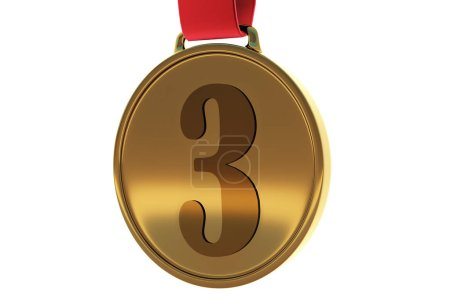 Golden medal on white background. Third place concept. 3D Rendering