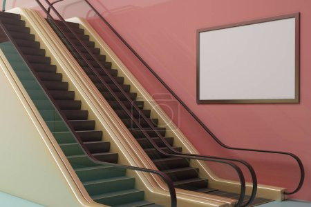 Photo for Contemporary pink metro station with escalator and empty poster. Commercial concept. Mock up, 3D Rendering - Royalty Free Image
