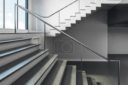 Close up of stairs in concrete interior with sky view. Success and growth concept. 3D Rendering