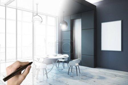 Foto de Dibujo boceto interior moderno comedor con cartel vacío a mano. Concepto de planos, proyecto y arquitectura. Render 3D - Imagen libre de derechos