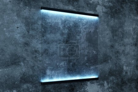 Creative glowing rectangular glass poster on concrete wall background. Retail and commercial concept. Mock up, 3D Rendering
