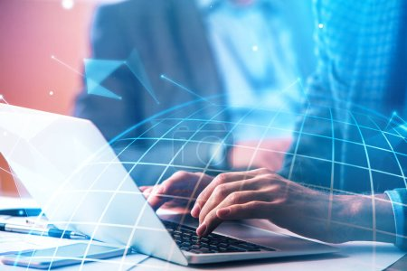 Photo for Hands using laptop with abstract polygonal globe. Technology and global business concept. Double exposure - Royalty Free Image