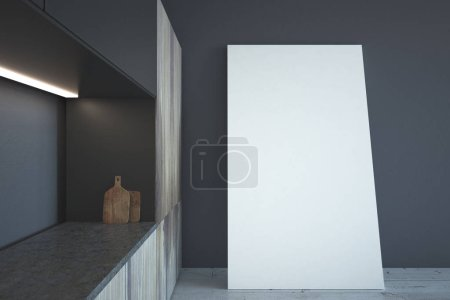 Modern illuminated kitchen interior with empty poster leaning on wall. Mock up, 3D Rendering
