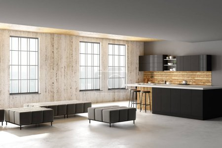 Modern loft kitchen interior with furniture, appliances, city view and daylight. Side view. 3D Rendering