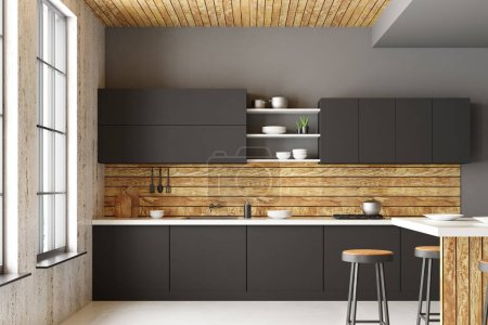 Modern loft kitchen interior with furniture, appliances, city view and daylight. Front view. 3D Rendering