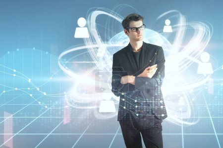 double exposure of young man in glasses with cell phone and social network and financial chart illustration. 3D render