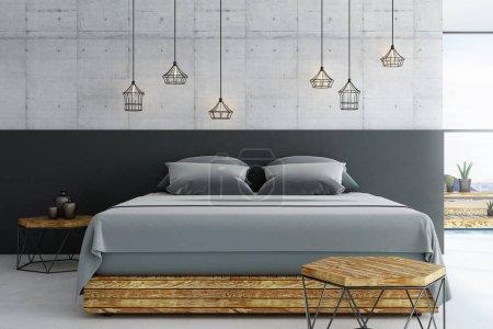 Photo pour Loft moderne chambre à coucher avec plancher de béton et des meubles en bois avec fenêtre du plafond au plancher. rendu 3D - image libre de droit