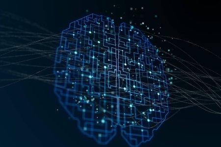 circuit du cerveau humain labirint et points à fond sombre abstraite. rendu 3D