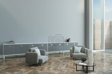 empty grey wall in modern living room with parquet, grey color furniture and floor-to-ceiling window. 3D rendering