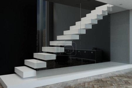 white stairs leading to the second floor behind a glass wall in modern apartment. 3D rendering