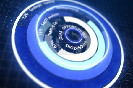 ideas ans opportunities cyber button concept at abstract dark technology background. 3D rendering