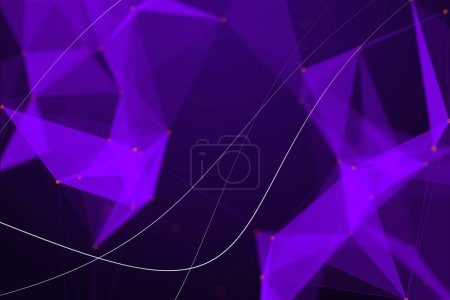 abstract purple digital background with polygonal lines. 3D rendering