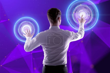 businessman pushing twosensory buttons on digital screen with abstract cyber system illustration at abstract technology background