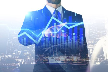 double exposure with businessman touching digital sensor screen with forex graph at night megapolis city background