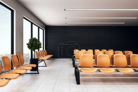 Photo for Empty waiting hall area with orange alignment chairs, light floor and city view from window floor-to-ceiling. 3d rendering - Royalty Free Image