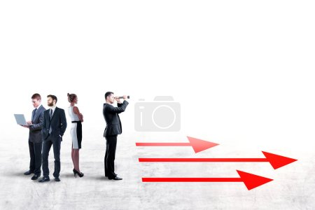 choose right way with businessman looking through telescope in the direction of the arrows before team people