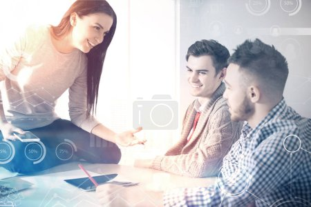 happy teamwork people talking about business process and abstract technology illustration