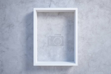 white rectangular picture frame at concrete wall background. 3d rendering