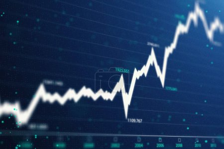 abstract financial chart with white uptrend line graph and numbers in stock market. 3d rendering