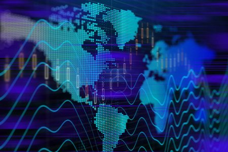 Finance concept with stock exchange graphs, stock market graphs and bar chart price display. Live stock trading online. Price chart bars. Stock market graph on the screen. 3d rendering