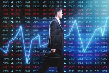walking businessman at forex trade market background with glowing graphs and index screen
