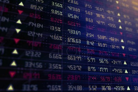 business chart schreen  with stock market ticker in red and green. 3d rendering