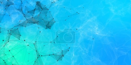 abstract polygonal space aquamarine background with connecting dots and lines. Connection structure. 3d rendering
