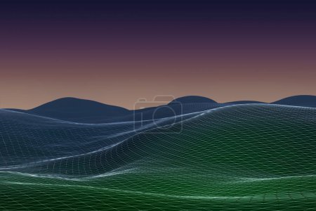 abstract geometric background with digital landscape or waves at sunset. 3d rendering