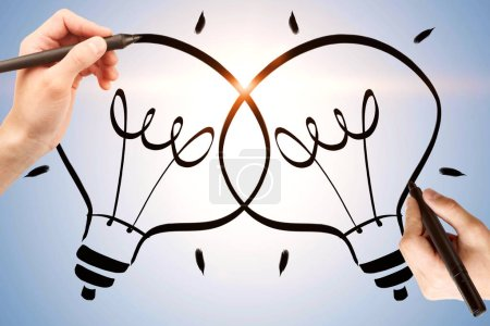 Photo for Creative hand drawn lamps on light background. Idea and solution concept - Royalty Free Image